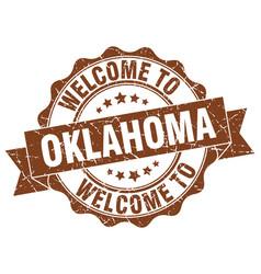 Oklahoma round ribbon seal vector