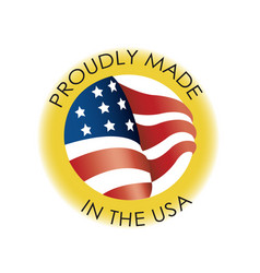 Beautiful 3d made in usa flag badge icon vector