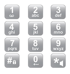 Phone keypad gray telephone buttons vector