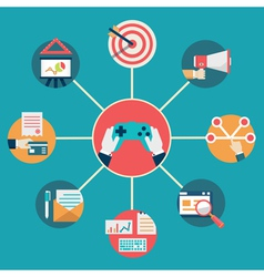 Flat concept of gamification in business vector