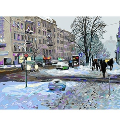 Painting of winter kiev city landscape vector