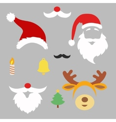 Christmas photo booth and scrapbooking set santa vector