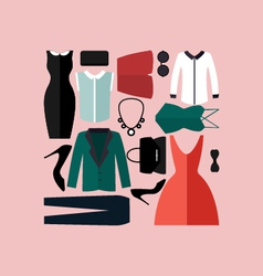 Clothing icons set shopping elements vector