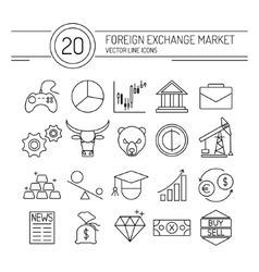 Forex line icons vector