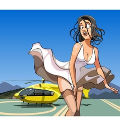 Cartoon girl with her skirt billowing in the wind vector