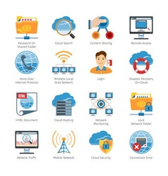 Internet and network flat icons set vector