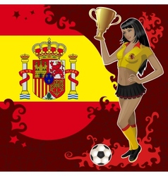 Football poster with girl and spanish flag vector