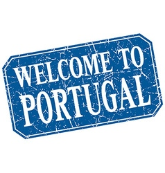 Welcome to portugal blue square grunge stamp vector