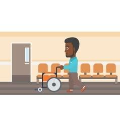 Man pushing wheelchair vector