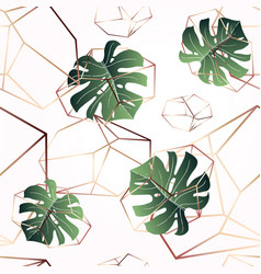 A leaf of monstera and crystals seamless pattern vector
