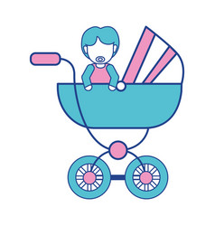 Baby girl with hairstyle inside carriage vector
