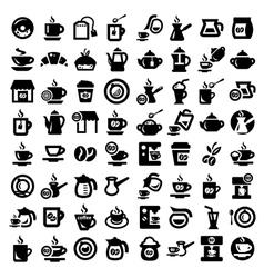 Big coffee and tea icons set vector