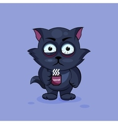 Black cat nervous vector