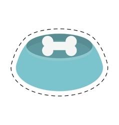 blue bowl bone food dog line dotted vector image