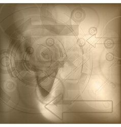 Brown tech background vector