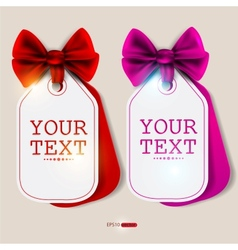 Card notes with ribbons red and pink invitations vector