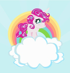 Card with a cute unicorn rainbow in the clouds vector