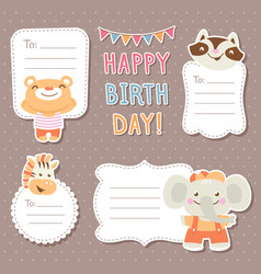 Cartoon animals greeting cards tags and stickers vector