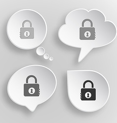 Closed lock white flat buttons on gray background vector