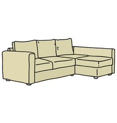 Cream big couch vector image vector image