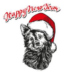 Dog in santa stocking hat santa claus christmas vector