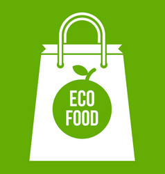 eco food bag icon green vector image