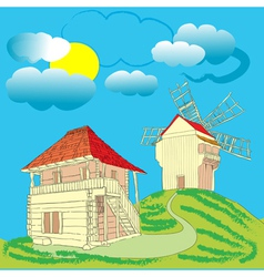 ecological country house vector image