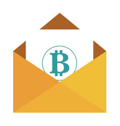 envelope with bitcoin symbol vector image