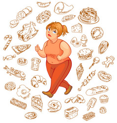 fat woman dreams of high-calorie foods vector image vector image