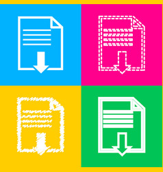 file download sign four styles of icon on four vector image vector image