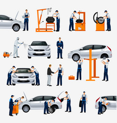Flat icons car repair service different workers vector