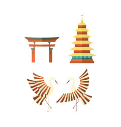 flat japanese pagoda crane and torii gate icons vector image vector image