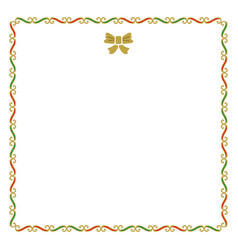 Golden red and green empty christmas border note vector