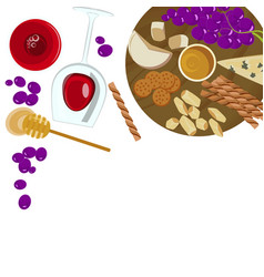 Grapes honey cheese with glass of wine vector