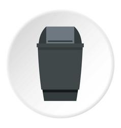 Grey flip lid bin icon circle vector