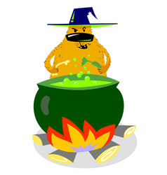 Halloween dog character in witch hat with boiling vector