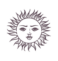 Hand drawn magic esoteric sun planet star vector