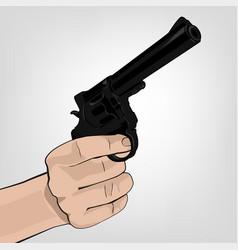 Hand holding revolver vector