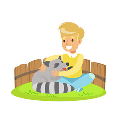 happy little boy sitting on green grass and vector image vector image