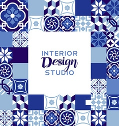 Interior design studio text with mosaic decoration vector