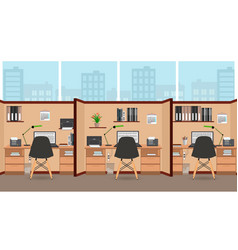 interior office room flat design with big window vector image vector image