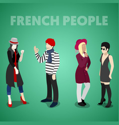 Isometric french people in traditional clothes vector