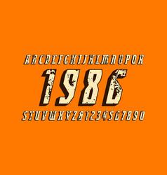 Italic narrow serif bulk font with rust texture vector