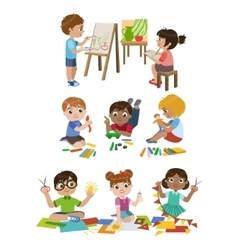 Kids learning craft vector