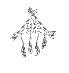 Line beauty dream catcher with feathers and arrows vector