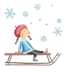 Little girl on the sled vector