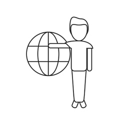 Man globe connection technology thin line vector