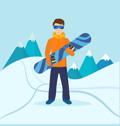 Man standing on mountain holding snowboard vector