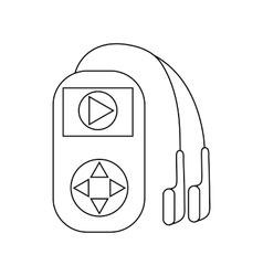 Mp3 player with headphones icon outline style vector image