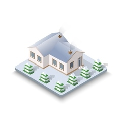 New Year Christmas 3d house vector image vector image